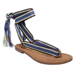 Sam & Libby Blossom Braided Tie Flat Sandals New